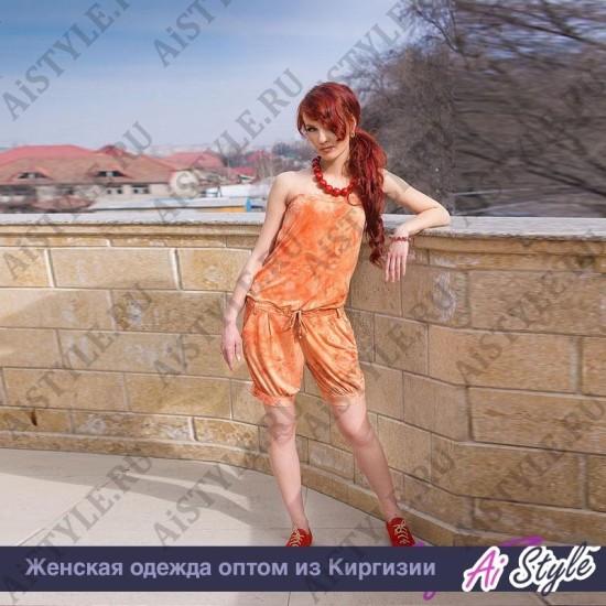 Комбинезон шорты персикового цвета