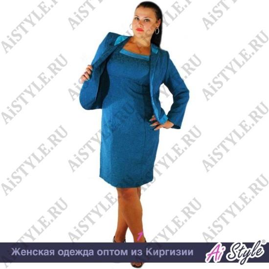 Костюм двойка – платье+жакет бирюзового цвета большого размера
