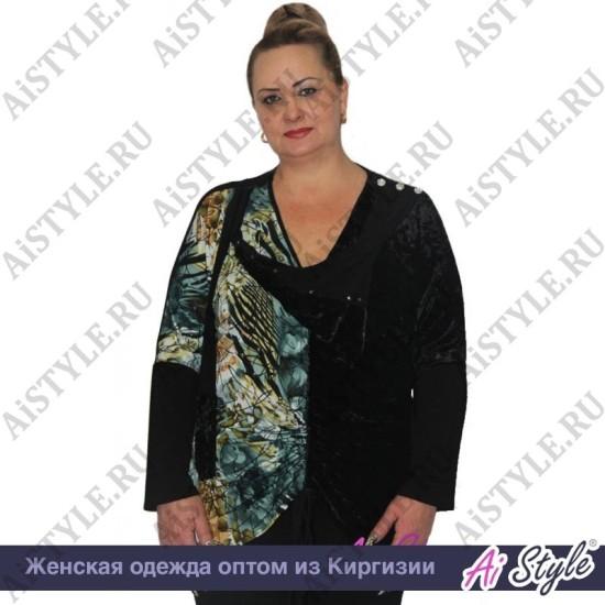 Черная блузка «Авангард» большого размера