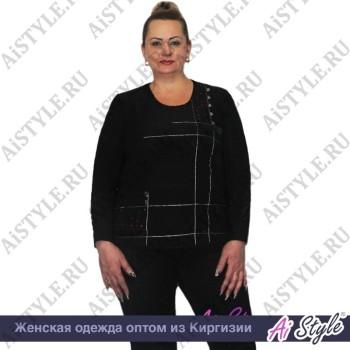 Черная блузка «Элегантность» большого размера