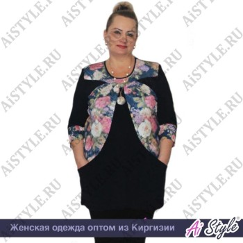Блузка-туника «Весенний сад» большого размера
