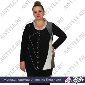 Комбинированная блузка «Асимметрия» большого размера