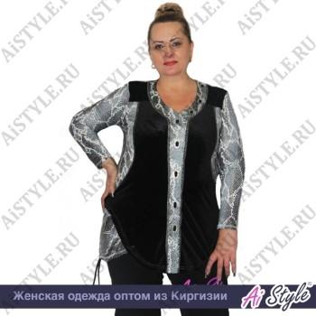 Черно-серая блузка «Змейка» большого размера