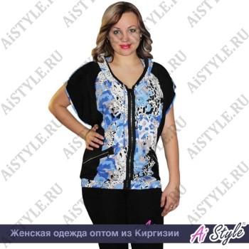Черно-голубая блуза «Спорт» большого размера