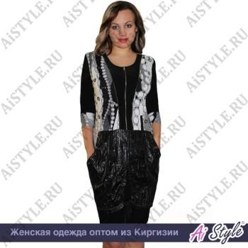 Комбинированное черно-белое платье с замком «Цепочки» большого размера