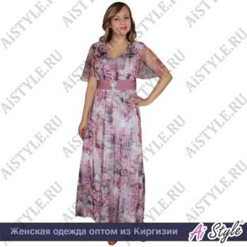 Розовое платье в пол с цветами большого размера