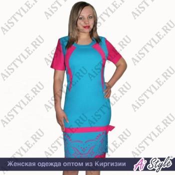 Розово-голубое платье большого размера