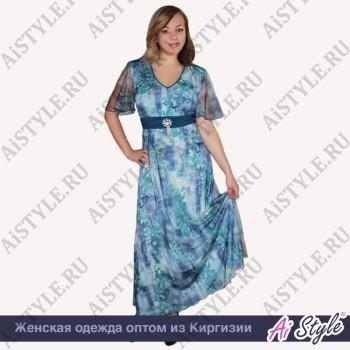 Голубое платье в пол с цветами большого размера