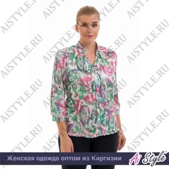 Белая блуза «Melange»  с зелено-розовым принтом